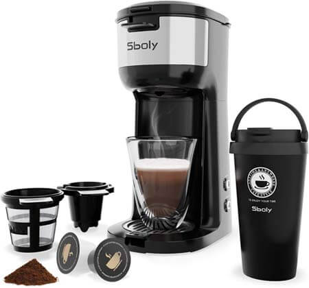 Sboly Single Serve Coffee Maker for K-Cup Pods And Ground Coffee 1177